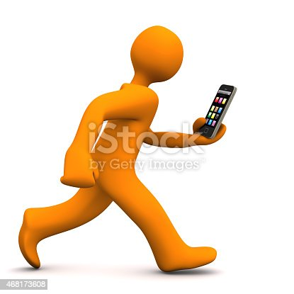 Orange cartoon character runs with a smartphone. White background.