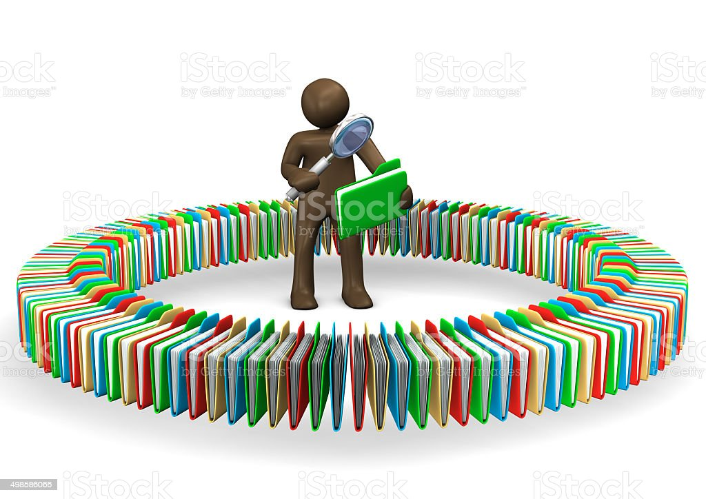 Manikin standing in circle of files, reading with magnifying gla stock photo