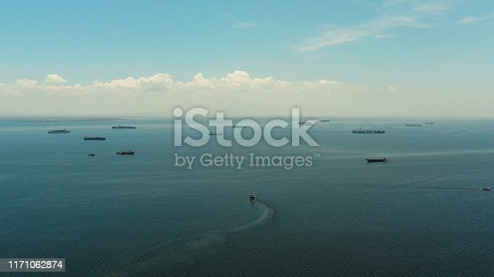 istock Manila bay with ships aerial view 1171062874