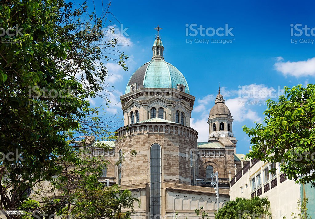 manila cathedral in phillipines stock photo