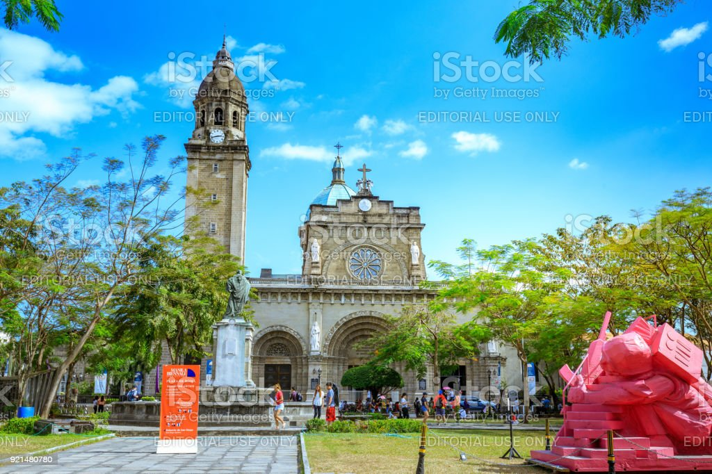 Manila Cathedral with the Intramuros area of manila stock photo