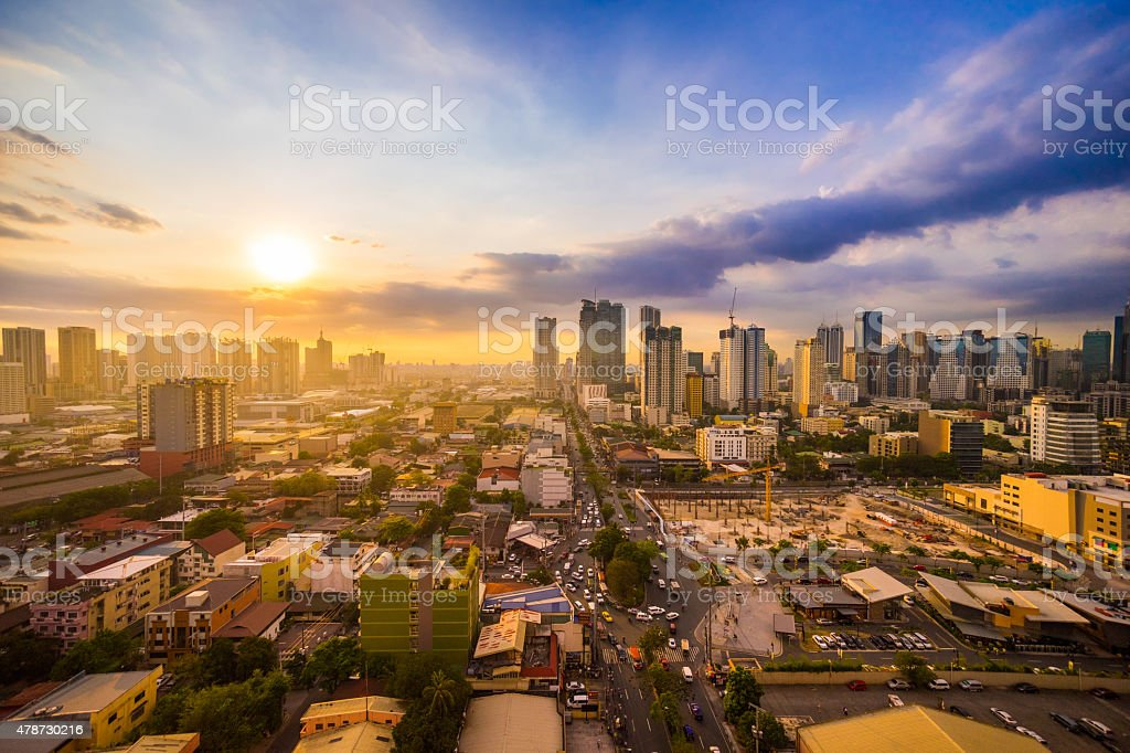 Manila city at Sunset showing Makati City and Ortigas stock photo