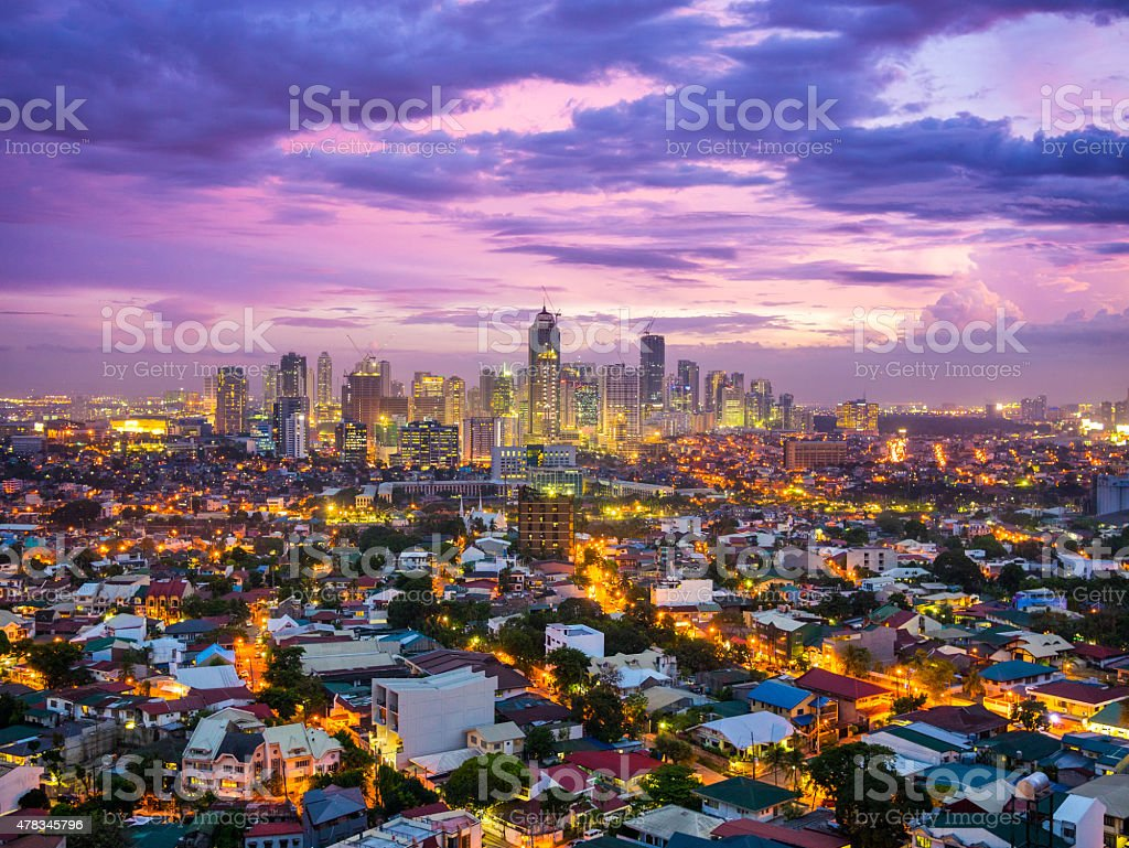 Manila city at Twilight showing Bonafacio Global City, Ortigas stock photo