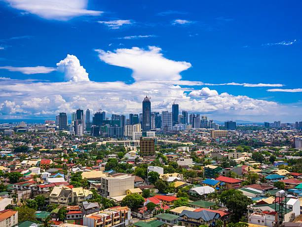 Manila City at Twilight muestra Ciudad de Makati, Ortigas - foto de stock