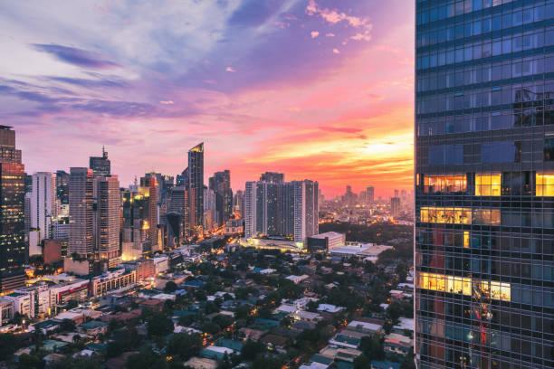 Manila Colorful Sunset Makati Skyscrapers Metro Manila Philippines stock photo