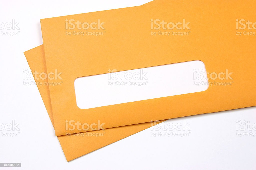 Manila envelopes over white stock photo