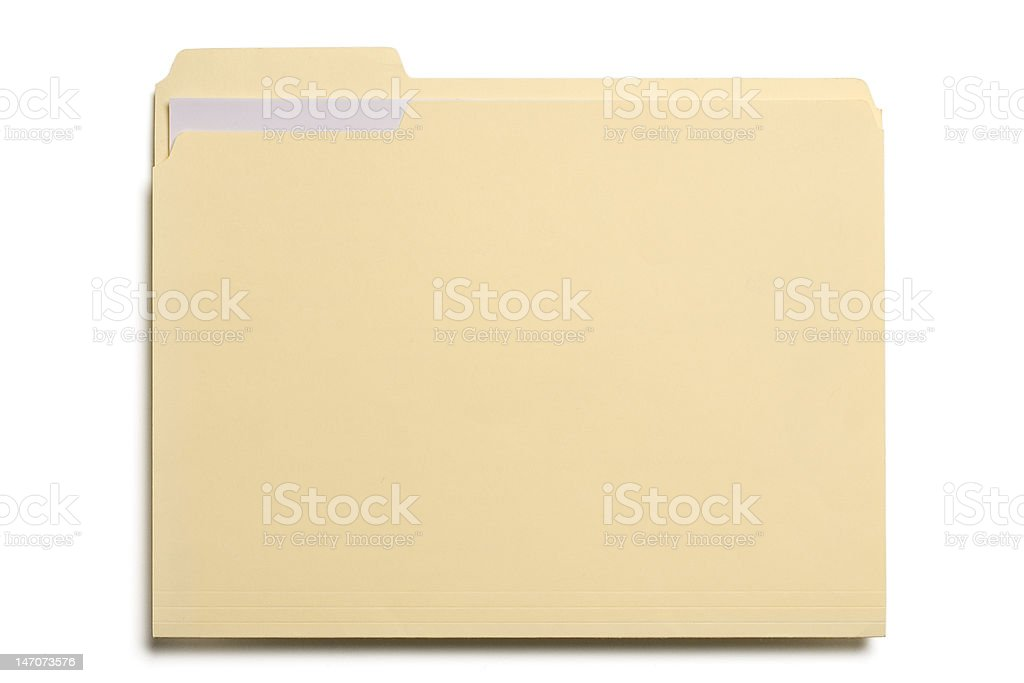 Manila file folder on white background stock photo