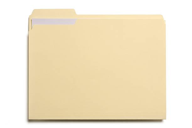 Manila file folder on white background stock photo