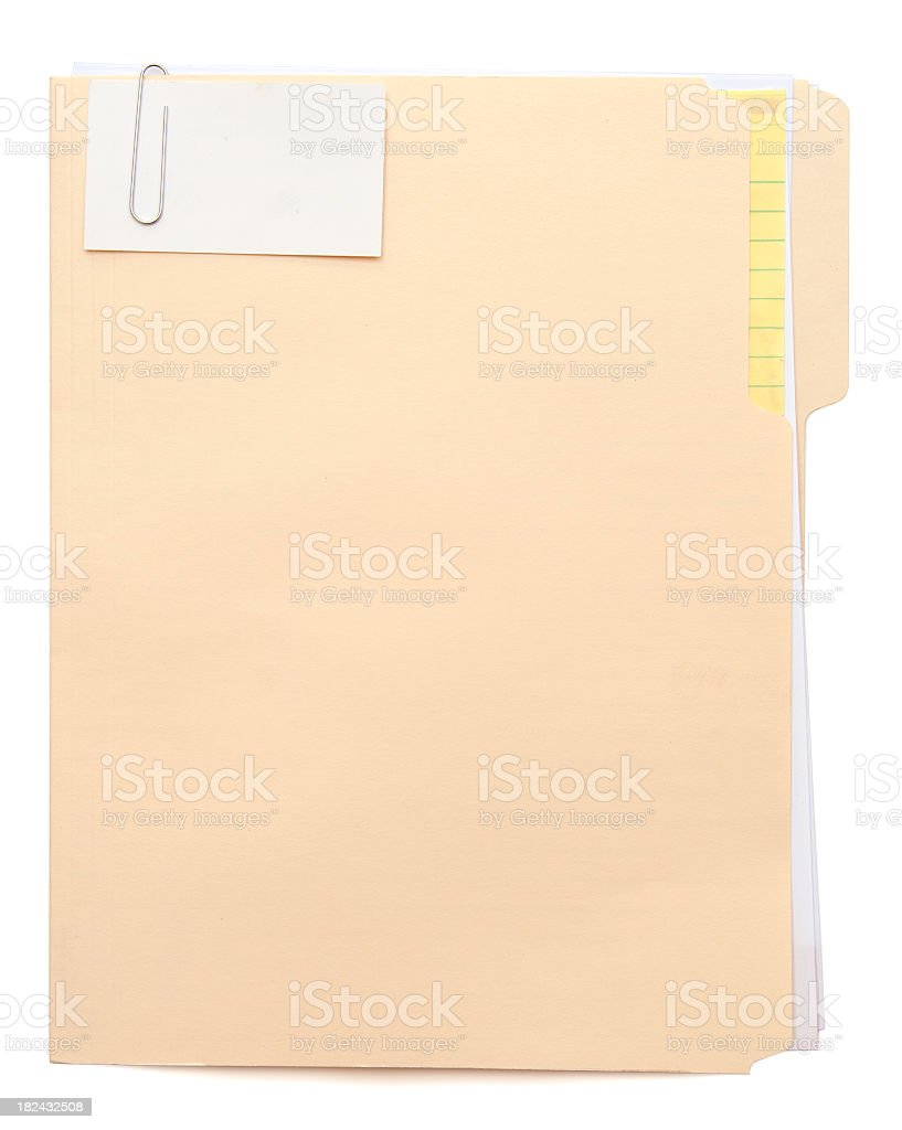 Manila folder with a note paper clipped to the front stock photo