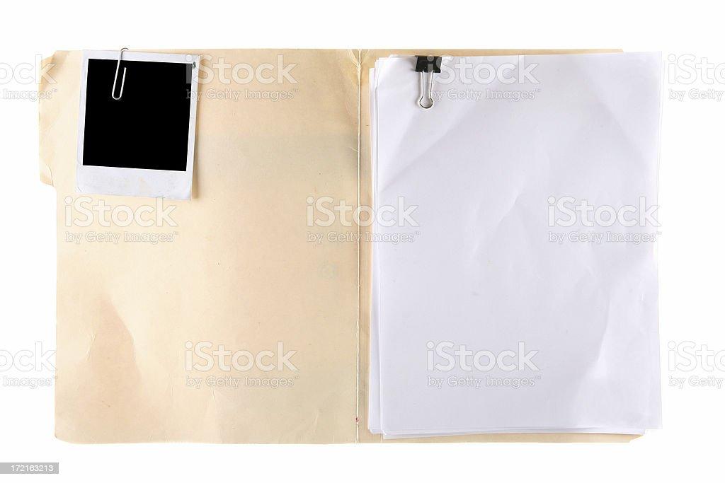 Manila Folder with Blank Photo and Documents stock photo
