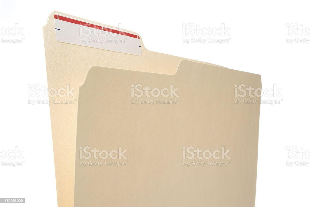Manila folder with white label and thin red stripe royalty-free stock photo