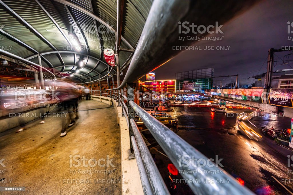 Manila wide angle view showing city buildings busy streets cars and...