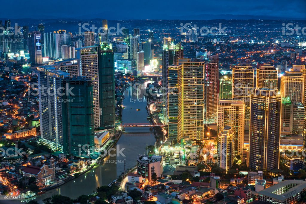 Manila Makati at Twilight stock photo