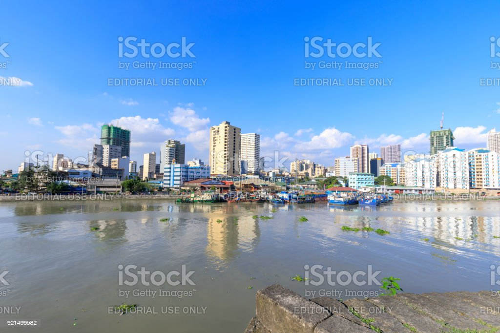Manila pasig river view from Fort Santiago view deck, Intramuros, Manila, Philippines stock photo