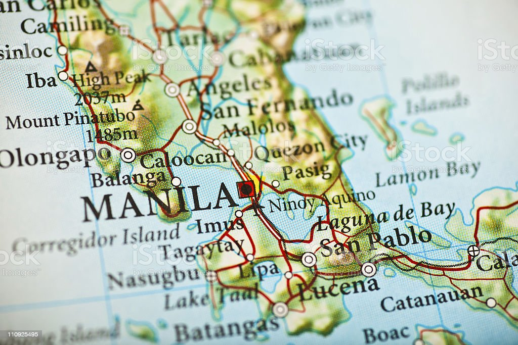 Manila, Philippines map stock photo