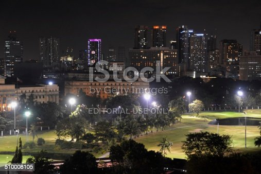 Manila, Philippines - January 23, 2014: Manila Makati business district skyline by night. In the foreground a big metro park.