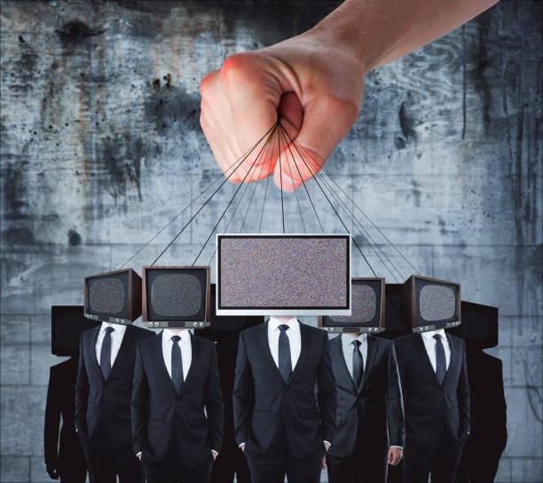 manipulation and brainwash concept - conspiracy стоковые фото и изображения