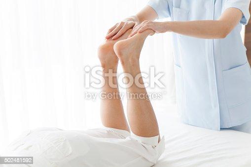 Manipulative teacher women to massage the legs