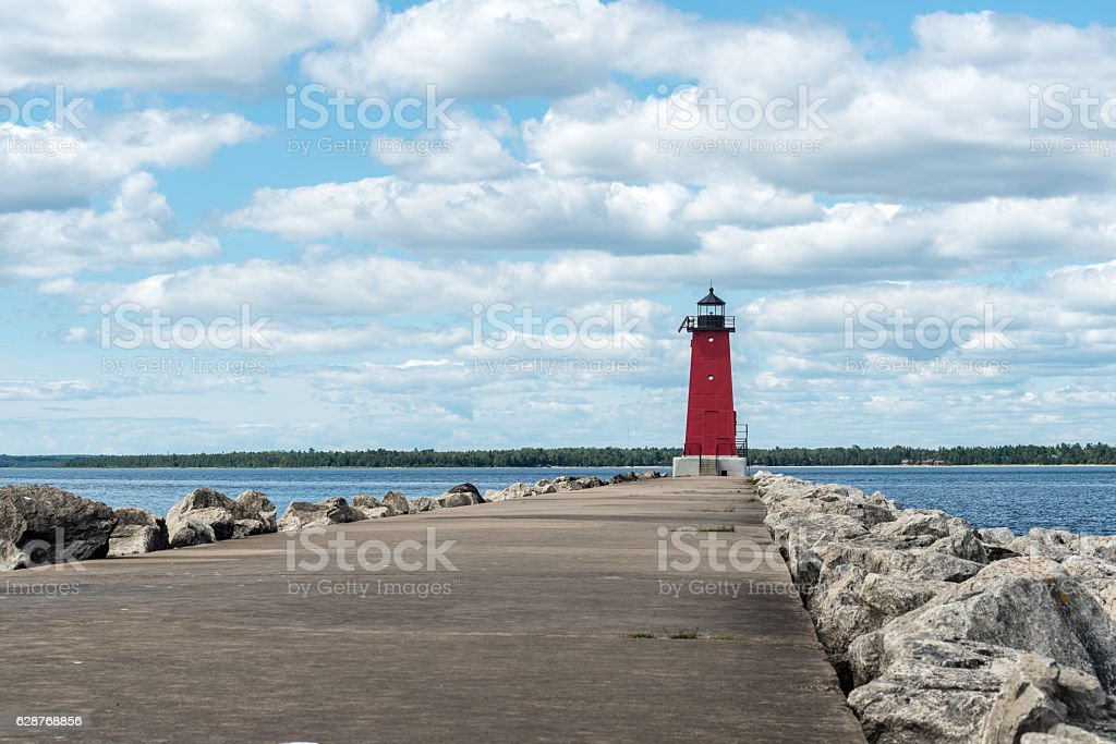 Manistique East Breakwater Lighthouse stock photo