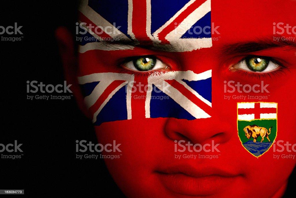 Manitoba Canadian Flag Boy royalty-free stock photo