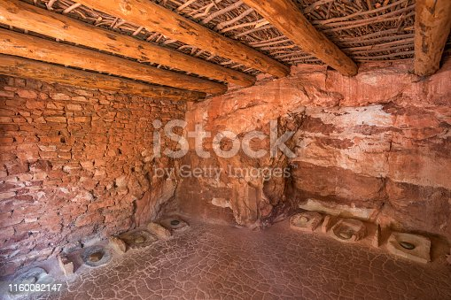 Grinding stones in an adobe room, Manitou Cliff Dwelling, Manitou Springs, Colorado, USA