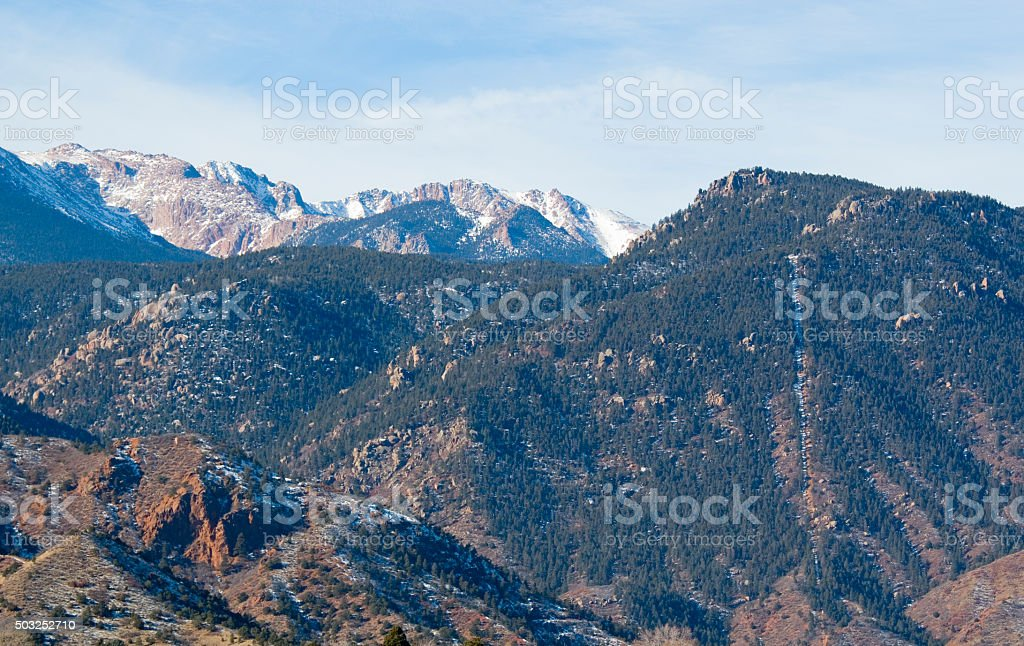Manitou Incline and East Face of Pikes Peak in Winter stock photo