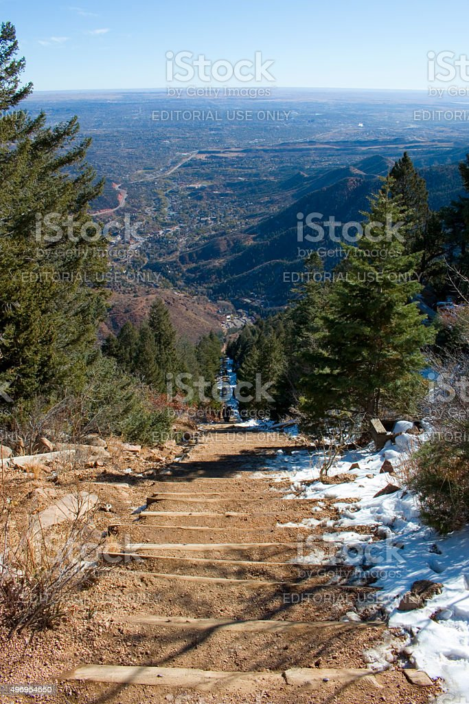 Manitou Springs Incline Trail in Wintertime stock photo