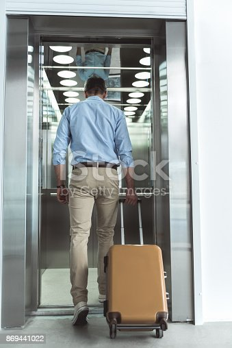 638591126istockphoto Manliness guy is carrying his baggage to lift 869441022