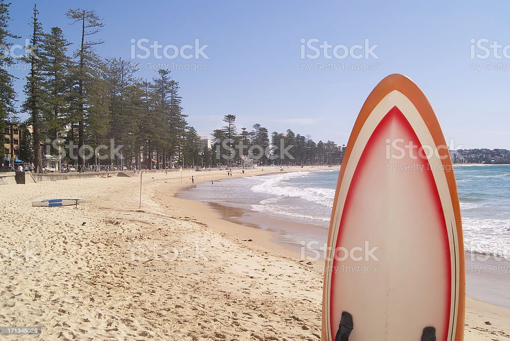 Manly Beach and Surfboard stock photo