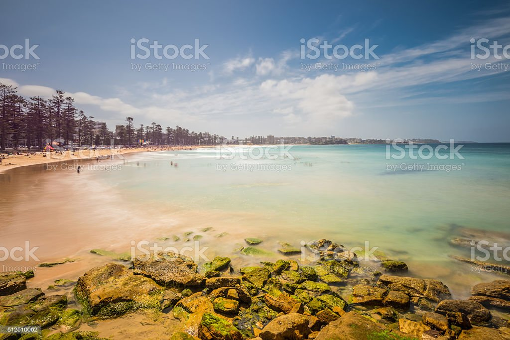 Manly beach on sunny day, Australia - long exposure stock photo