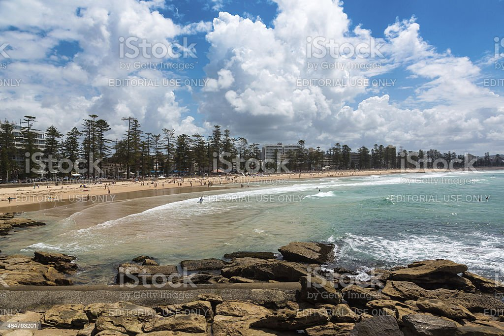 Manly beach on sunny day, Australia stock photo