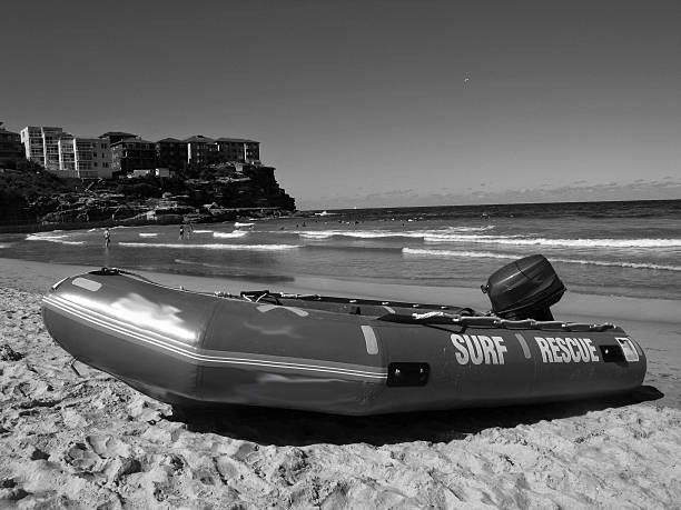 Manly Beach Rescue Boat stock photo