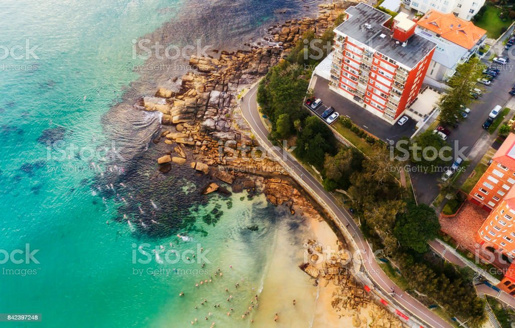 D Manly Beach swimmers House Vert stock photo