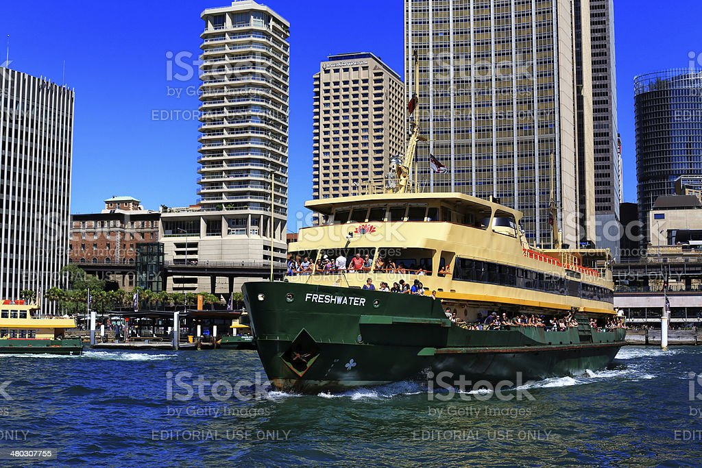 Manly ferry leaving Circular Quay, Sydney stock photo