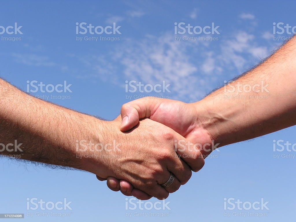 Manly Man's Handshake royalty-free stock photo