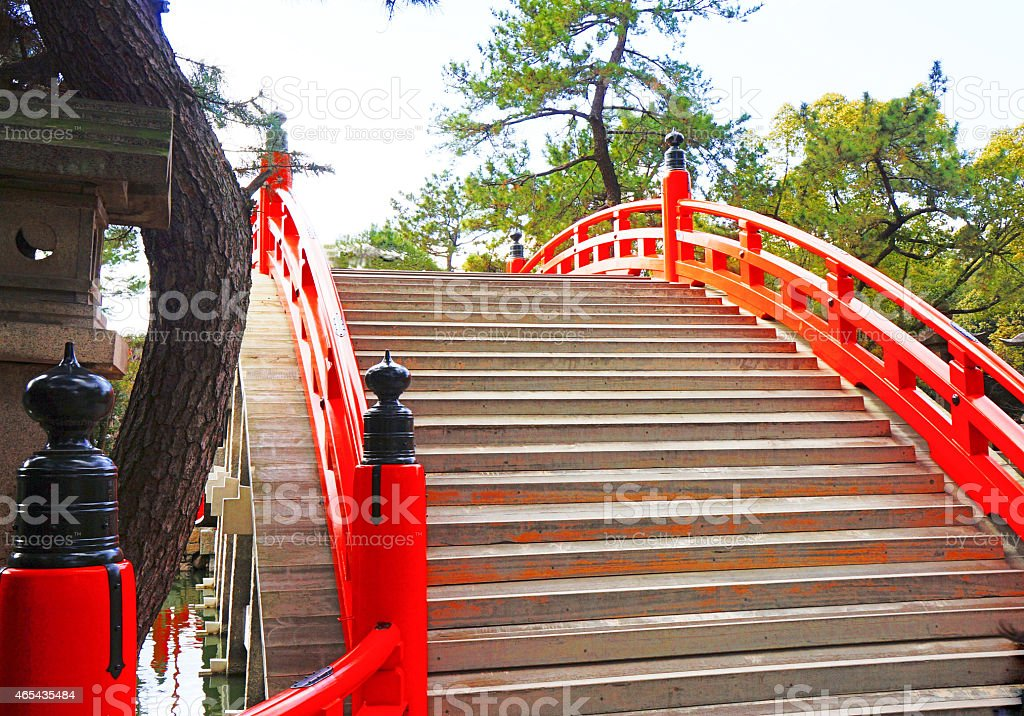 man-made bridge in Japan stock photo