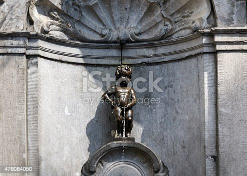 Manneken Pis (Little man Pee), a small bronze sculpture in Brussels, Belgium