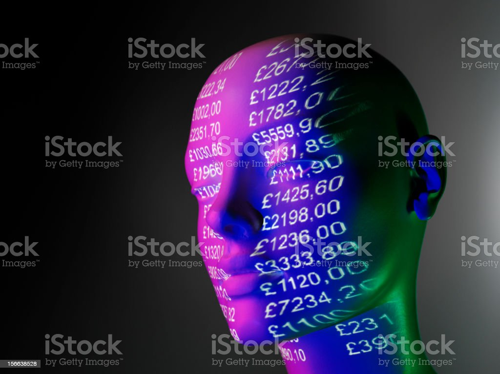 Mannequin and Projected British Pounds stock photo