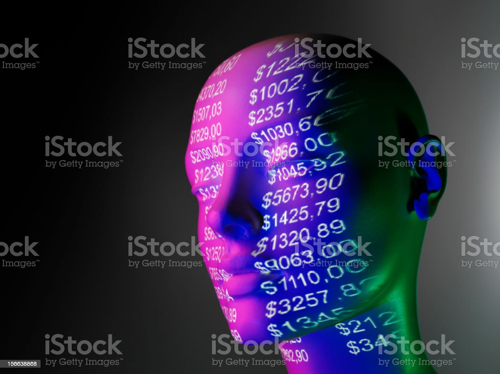 Mannequin and Projected Numbers stock photo
