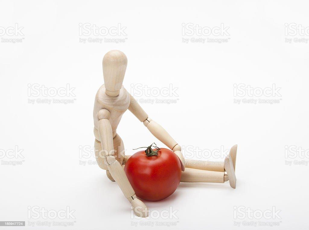 Manequim e tomate - foto de acervo
