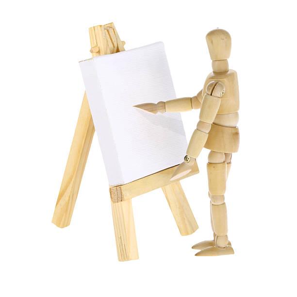 kleiderpuppe künstler und staffelei mit leinen - roboter bastelarbeiten stock-fotos und bilder