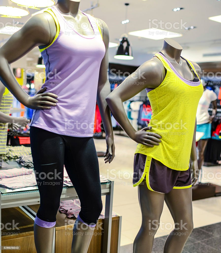 Mannequin at sport clothing store stock photo