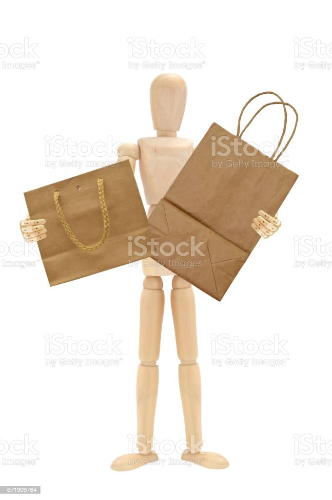 Mannequin Brown Shopping Bags stock photo