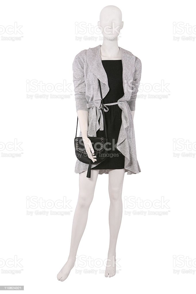 Mannequin dressed in sweater and black dress royalty-free stock photo