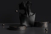 Mannequin earring Jewelry necklace display stand. Female Bust and black gold rusted platforms. Jewelry showcase black background. 3d rendering.