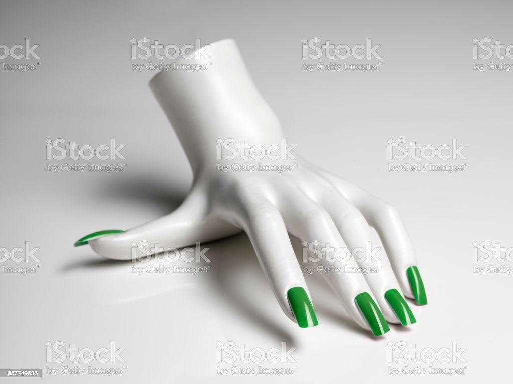 Mannequin Hand With Perfect Manicure And Green Nail Polish Stock ...