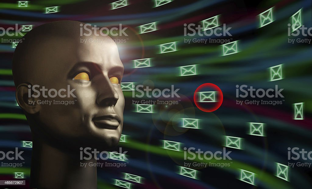 Mannequin head monitoring e-mail messages in cyberspace royalty-free stock photo