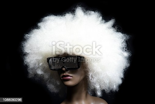 amazing mannequin with LED sunglasses. very 1980