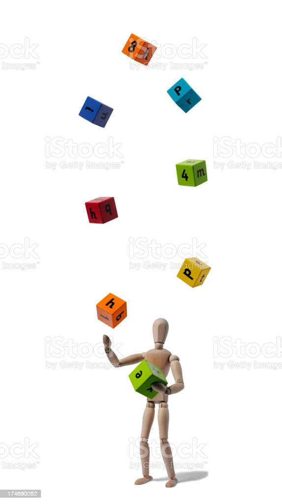 Mannequin Juggling Wooden Blocks royalty-free stock photo