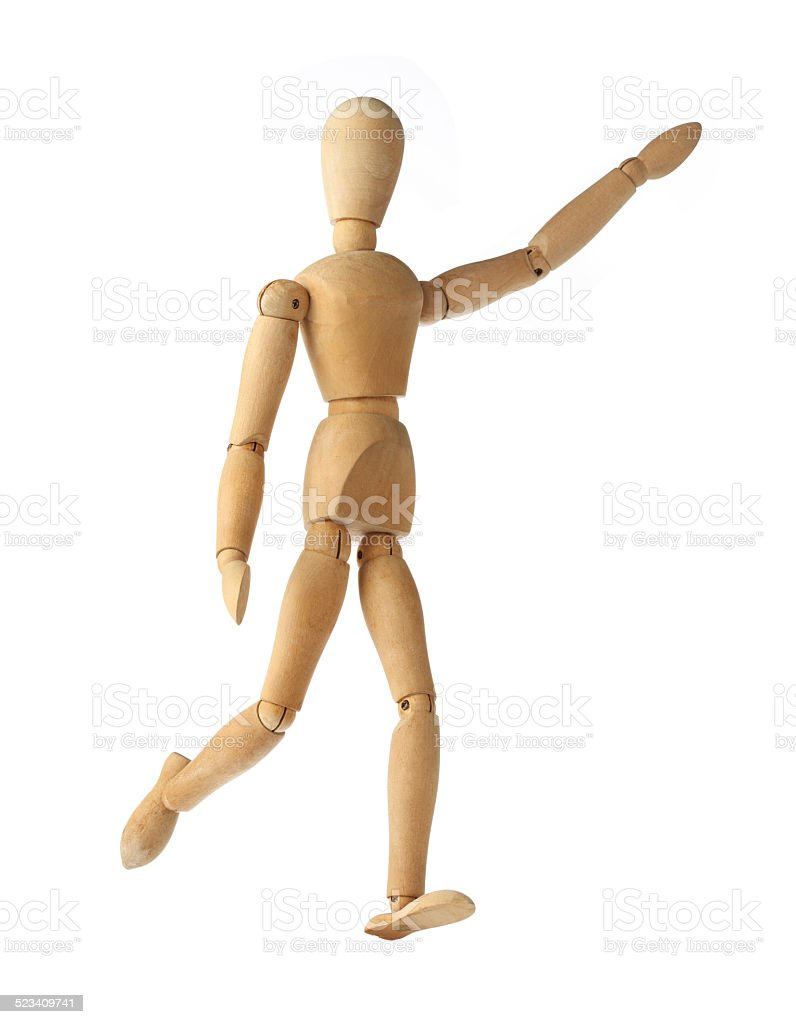 mannequin old wooden dummy acting about soccer isolated on white stock photo